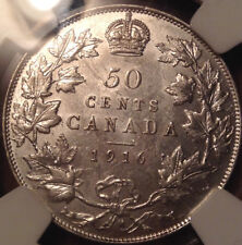 1916 CANADA SILVER 50 CENTS AU DETAILS NGC