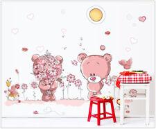 Wandtattoo Mädchen Bärchen Bären Pusteblume Kinderzimmer Baby pink Herz rosa