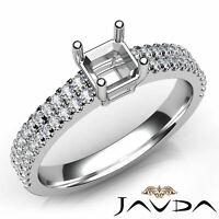 U Cut Prong Setting Asscher Diamond Semi Mount Engagement Ring Platinum 0.5Ct