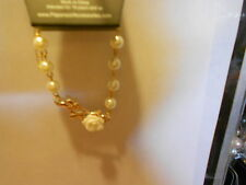 "Paparazzi Bracelet (new) WHITE BEADS W/""GOLD BRANCH"" W/WHITE ROSE"