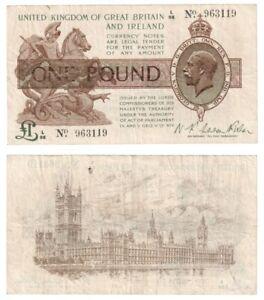 Treasury £1 Pound Banknote (from 1919) BYB ref: TR17b - aVF.