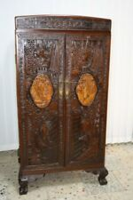 Alte asiatische Kommode/Schrank Holz mit Szenerien beschnitzt ,7 Schübe /#150