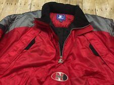 e178576f7 Nebraska Cornhuskers STARTER Jacket Puffer Parka NCAA Football Hooded Red  LARGE