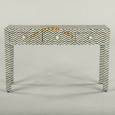 Handmade Antique Bone Inlay Chevron Vintage Wooden Console Table