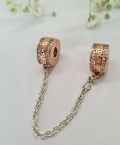 NEW PANDORA Rose Insignia Safety Chain Rose Gold Charm