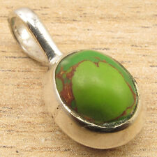 GREEN COPPER TURQUOISE Gem Little Pendant, 925 Silver Plated HANDMADE Jewellery