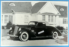 """12 By 18"""" Black & White Picture 1939 Lincoln Convertible Top Up"""