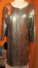 T TAHARI NWT $258 EZRA 16 gold women's dress mesh sequin party disco evening