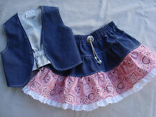 2 pc DenimPink Bandana Western Skirt/Vest Set Sz 2 Handmade Brand NEW Cute!