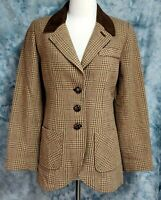 Soft Surroundings Womens sz XS Wool Equestrian Elbow Pads Vented Tweed Blazer