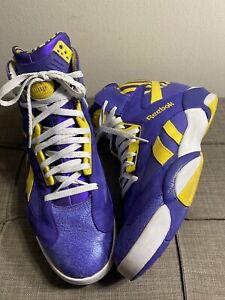 RARE🔥 Reebok The Pump Shaq Attaq Sz 14 Purple Tiger Sneakers Lakers LSU M40343