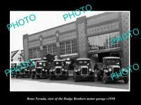 OLD LARGE HISTORIC PHOTO OF RENO NEVADA, THE DODGE BROTHERS MOTOR GARAGE c1930