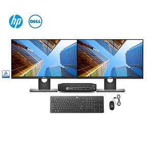 "HP + Dell All In One Pro Bundle(Intel i7-6700T,16GB PC4, 512GB SSD, Dual 24"" QHD"