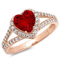 Details about  /1.66 Princess Real Red Garnet Promise Bridal Wedding Designer Ring 14k Rose Gold