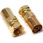 F CONNECTOR MALE PLUG TO TV AERIAL SOCKET FEMALE ADAPTER - RF COAXIAL CONVERTER