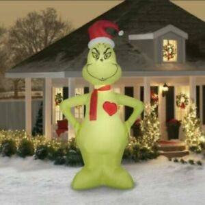11' Gemmy GRINCH Christmas Airblown LIGHT HEART GROWS 3 SIZES  Yard Inflatable