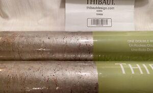 8YD THIBAUT 83009 CORK Metallic Pewter Hand Crafted Cork Wallpaper $500Retail