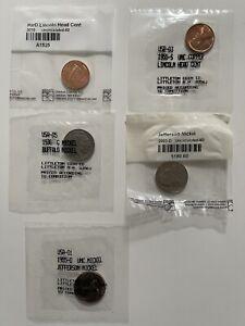 1939 Jefferson nickel, 1936 buffalo nickel, 1955 and 1939 Lincoln head cent