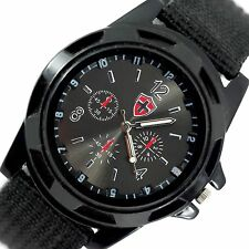 BLACK TACTICAL FIELD OPS ARMY GYM MILITARY SWISS CANVAS BAND STAINLESS WATCH