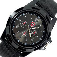 Campo Táctico Negro OPS Ejército Militar Suizo De Lona Banda Acero Gimnasio Reloj