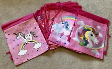Unicorn Kids Drawstring Party Bags Pink x 16 NEW