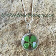 "Four Leaf Clover Necklace - 925 Sterling Silver 20"" Chain Irish Lucky Shamrock"