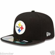 PITTSBURGH STEELERS NFL OFFICIAL ON FIELD NEW ERA 59FIFTY FITTED BLK HAT/CAP  NWT