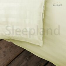 300TC 100% EGYPTIAN COTTON FITTED SHEET SATIN STRIPE SUPER KING IVORY
