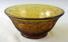 "VTG Indiana TIARA Amber Sandwich Glass Berry Cereal Bowl 5 1/2"" Floral Pattern"