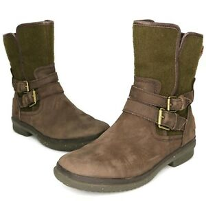 Ugg WOMEN'S Brown & Green Leather Simmens Buckle Boots Size 6 US