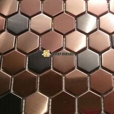 purple hexagon brushed stainless steel mosaic tiles kitchen backsplash HME8048