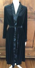 NWT $98 DONNA NADEAU Long robe Black Velvet Satin Trim Beautiful Small/medium