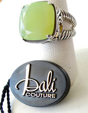 NEW BALI COUTURE STERLING SILVER/18K   RING SIZE 15MM GREEN CHADEDONY RING 7 1/2