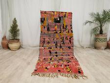 Handmade Vintage Moroccan Tribal Rug 3'1x7'4 Berber Abstract Faded Red Wool Rug