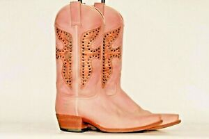 Frye Daisy Duke VTG Studded pink leather cowboy boots 8 M Made in SPAIN! EUC