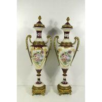 """PAIR 25.5"""" XL french Vieux paris porcelain Floral decor Vases marked lion paws"""