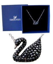 New Authentic Swarovski Rhodium Sparkle Crystal Iconic Swan Pendant Necklace