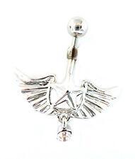 Gem Dangle Naval Steel Body Jewelry Belly Ring Angel Wings & Star w/Purple