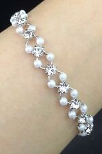 Dainty Wedding Formal Pearl And Crystal Diamante Bracelet Silver Bridesmaid 8mm