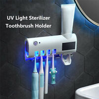 Toothpaste Dispenser UV Toothbrush Sterilizer Holder Wall Mount Stand Bathroom