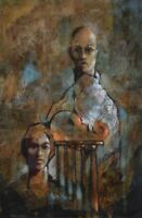 """CHARLES BRAGG 30x20"""" Original Oil Painting American Gothic US California Listed"""