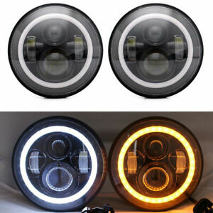 "7"" Round LED Headlight Halo Angel Eyes BLACK PAIR for Classic Mini Austin Rover"