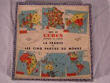 Ancien Rare PUZZLE VERA bois LA FRANCE ET LES CINQ PARTIES DU MONDE 1936 Atlas