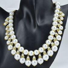 Pearl Crystal Bib Round Costume Necklaces & Pendants