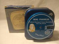 Vintage Benjamin Franklin Federal Savings & Loan Add-A-Coin Navy Blue Tin Bank