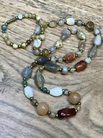 "Vintage Earth Tone  Mixed Stone Pretty Bohemian Beaded 32"" Long Necklace"