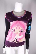 Custo Barcelona Girl Face Graphic Pop Glitter Velvet Shirt Top Sz 1 S Small EUC