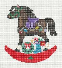 Painted Pony Brown Holiday Rocking Horse handpainted Needlepoint Canvas Ornament