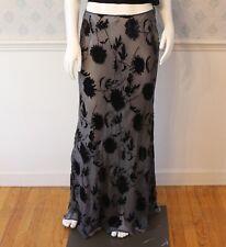 Vintage 1990s Krizia Designer Silk Blend and Velvet Burnout Long Skirt Size 44