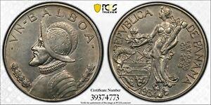 1934 PANAMA BALBOA SILVER UN VN $1 DOLLAR PCGS AU55 GOLD SHIELD TRUE VIEW COIN!